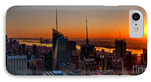 Nyc Sunset IPhone Case by Susan Candelario