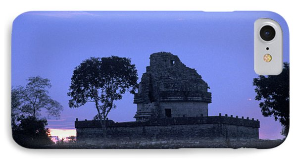 IPhone Case featuring the photograph Obervatory At Sunset Chichen Itza Mexico by John  Mitchell