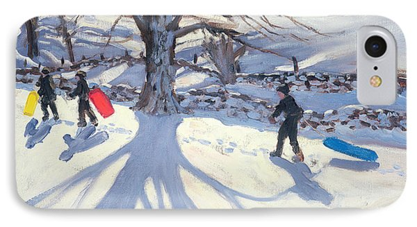 obogganers near Youlegrave Phone Case by Andrew Macara