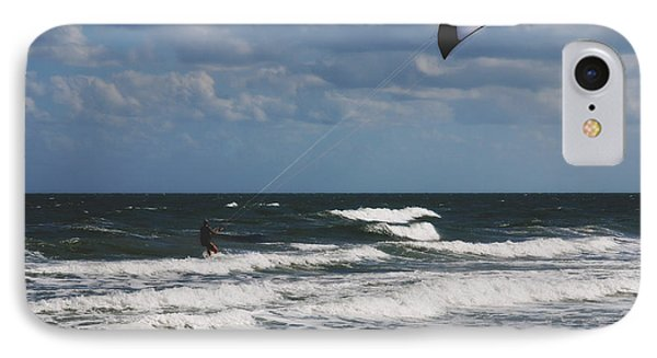 October Beach Kite Surfer Phone Case by Susanne Van Hulst