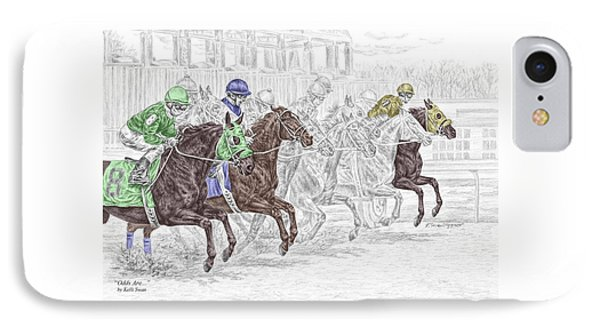 Odds Are - Tb Horse Racing Print Color Tinted IPhone Case by Kelli Swan