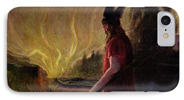 Odin Leaves As The Flames Rise IPhone Case by H Hendrich