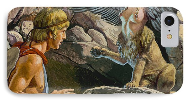 Oedipus Encountering The Sphinx IPhone 7 Case by Roger Payne