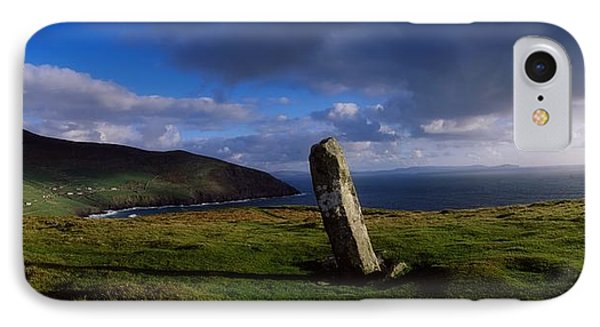 Ogham Stone At Dunmore Head, Dingle Phone Case by The Irish Image Collection