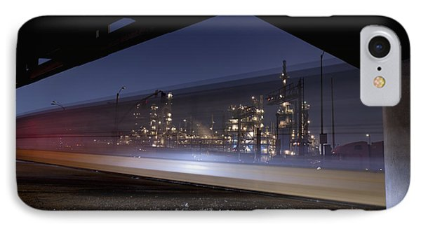 Oil Refinery And Train Blur Phone Case by Mike Raabe