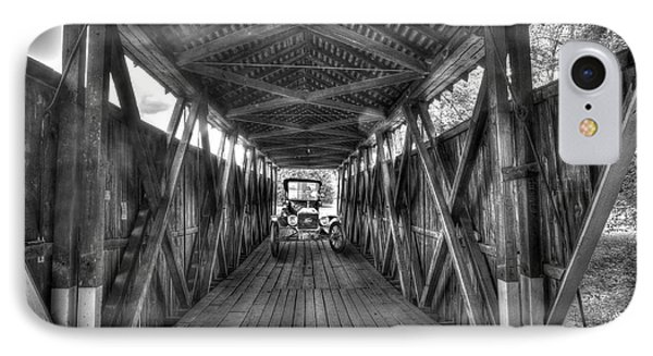 Old Car On Covered Bridge Phone Case by Dan Friend
