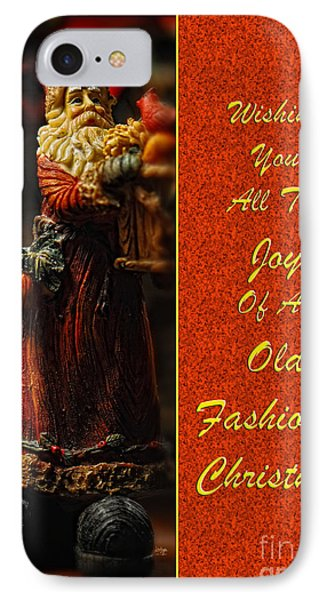Old Fashioned Santa Christmas Card Phone Case by Lois Bryan