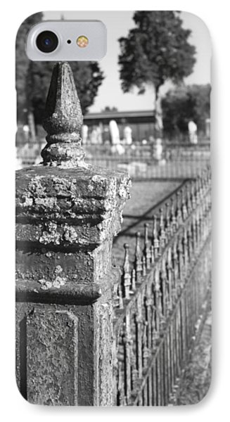 Old Graveyard Fence In Black And White Phone Case by Kathy Clark