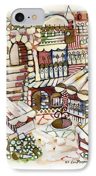 Old Jerusalem Courtyard Modern Artwork In Red White Green And Blue With Rooftops Fences Flowers Phone Case by Rachel Hershkovitz
