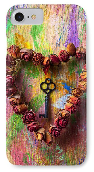 Old Key And Rose Heart Phone Case by Garry Gay