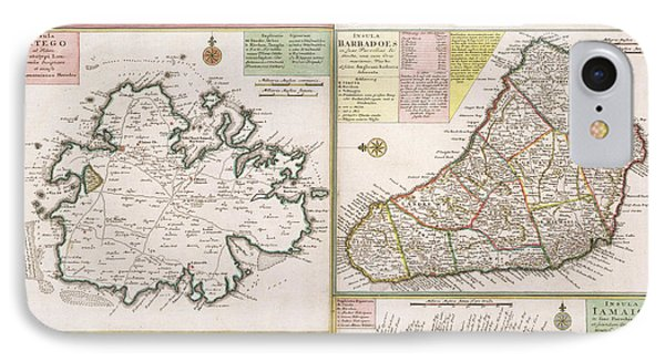 Old Map Of English Colonies In The Caribbean Phone Case by German School