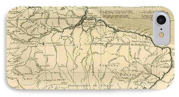 Old Map Of Northern Brazil Phone Case by Guillaume Raynal