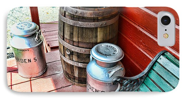 Old Milk Cans And Rain Barrel. IPhone Case by Paul Ward