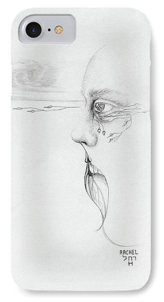 Old Nature Face Black And White Art Looking Into Cloud  L Leaf Beard Fantasy Flower Tear Surreal IPhone Case by Rachel Hershkovitz