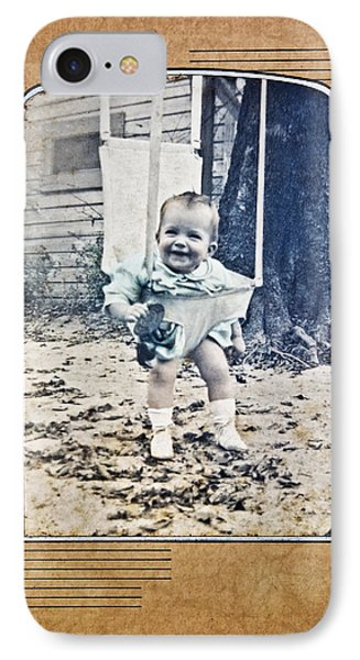 Old Photo Of A Baby Outside Phone Case by Susan Leggett