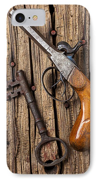 Old Pistol And Skeleton Key Phone Case by Garry Gay