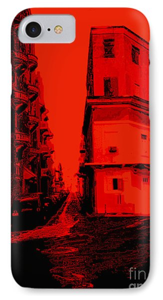 Old San Juan In Red And Black Phone Case by Ann Powell