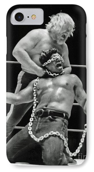 IPhone Case featuring the photograph Old School Wrestling Chain Match Between Moondog Mayne And Don Muraco by Jim Fitzpatrick