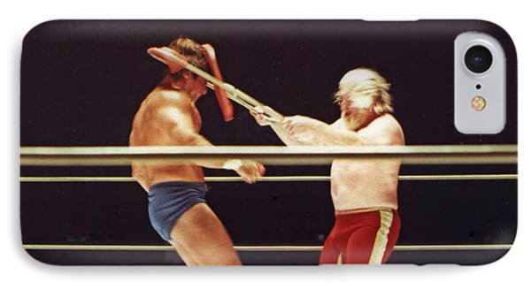 IPhone Case featuring the photograph Old School Wrestling Chair Shot To The Head On Don Muraco By Moondog Mayne by Jim Fitzpatrick