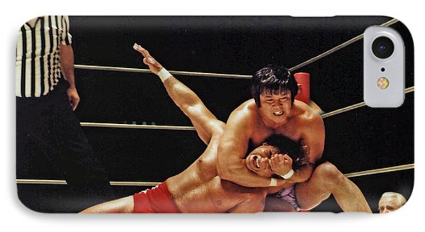 IPhone Case featuring the photograph Old School Wrestling Headlock By Dean Ho On Don Muraco by Jim Fitzpatrick
