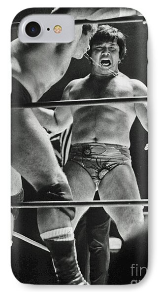 IPhone Case featuring the photograph Old School Wrestling Karate Chop On Don Muraco By Dean Ho by Jim Fitzpatrick