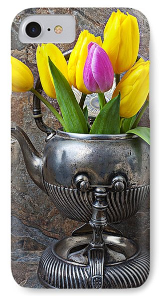 Old Tea Pot And Tulips IPhone Case