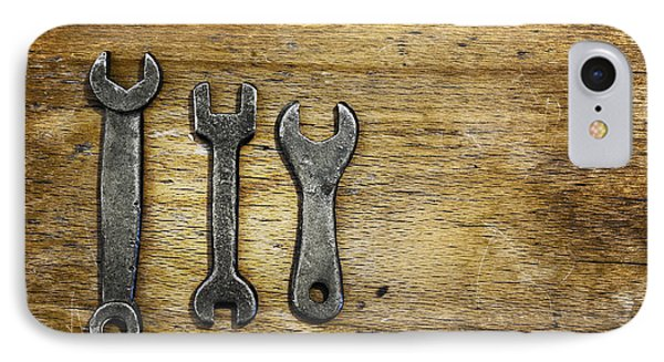 Old Wrenches On Wooden Stool. Three Old IPhone Case by Marlene Ford