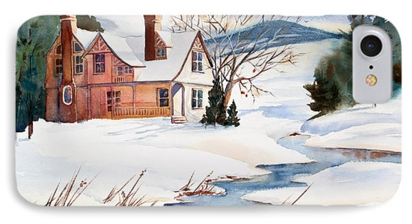 On A Winters Day Watercolor Painting Phone Case by Michelle Wiarda