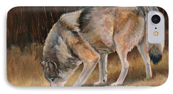 On The Trail - Wolf IPhone Case by Sheri Gordon
