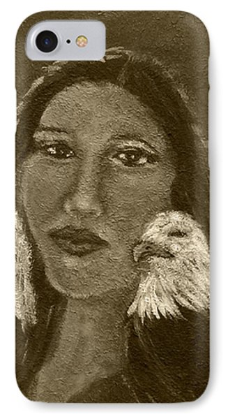 Onawa Native American Woman Of Wisdom With Eagle In Sepia Phone Case by The Art With A Heart By Charlotte Phillips