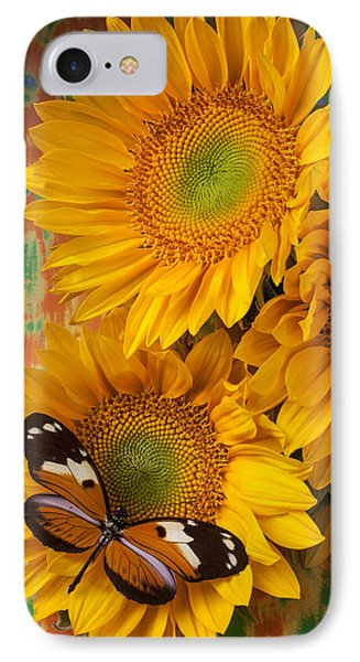 Orange Black Butterfly And Sunflowers Phone Case by Garry Gay