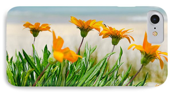 Orange Flowers On The Sunny Ocean Beach. IPhone Case