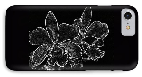 Orchids - Black And White Abstract IPhone Case