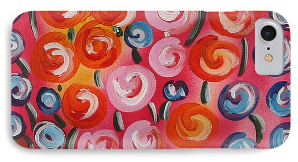Original Modern Impasto Flowers Painting  IPhone Case by Gioia Albano