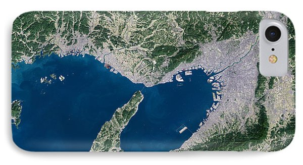 Osaka, Satellite Image Phone Case by Planetobserver