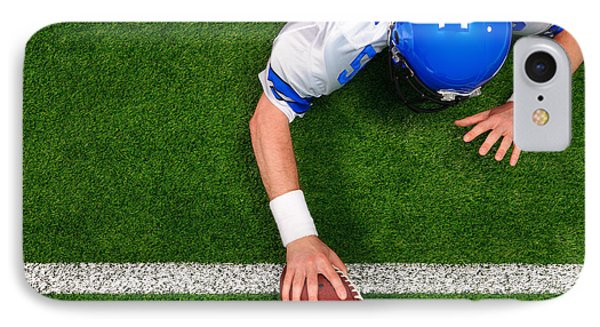 Overhead American Football Player One Handed Touchdown Phone Case by Richard Thomas