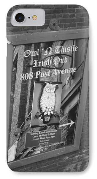 Owl And Thistle Irish Pub IPhone Case by Kym Backland
