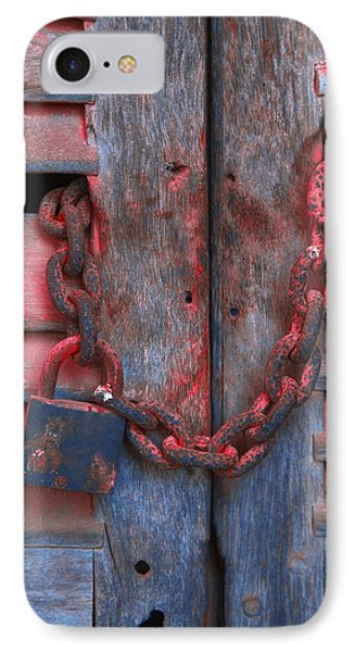 Padlock And Chain On Wooden Door Phone Case by Carson Ganci