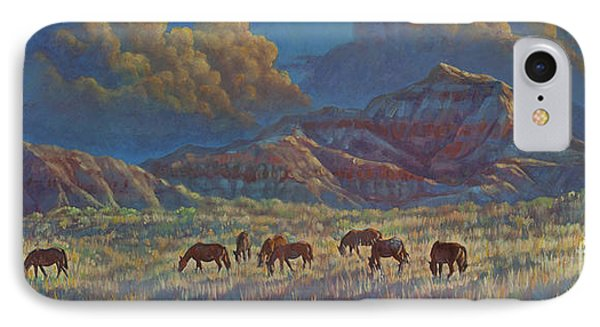 IPhone Case featuring the painting Painted Desert Painted Horses by Rob Corsetti