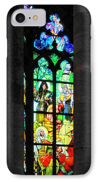 Painted Glass - Alfons Mucha  - St. Vitus Cathedral Prague Phone Case by Christine Till