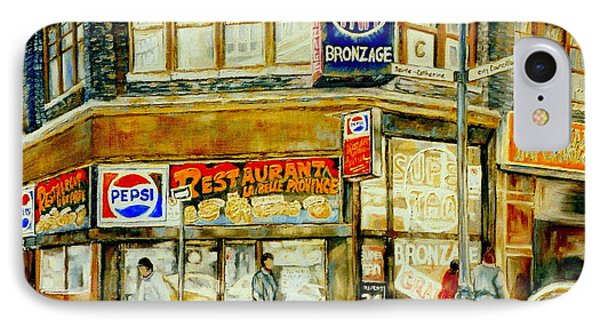 Paintings Of Montreal Streets Downtown Restaurants Rue Ste. Catherine City Scene Phone Case by Carole Spandau