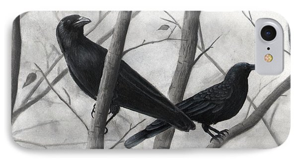 Pair Of Crows Phone Case by Christian Conner
