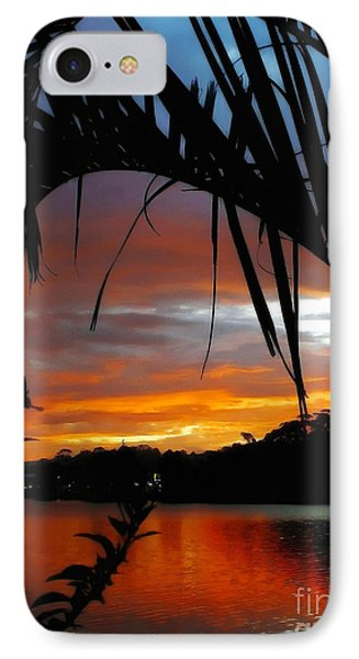 Palm Framed Sunset Phone Case by Kaye Menner