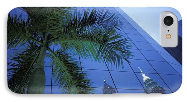 Palm Tree And Reflection Of Petronas Phone Case by Axiom Photographic