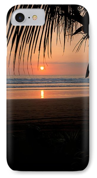 Palm Tree At Sunset IPhone Case by Anthony Doudt