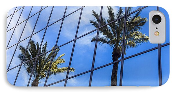 Palm Trees Reflection On Glass Office Building Phone Case by Paul Velgos