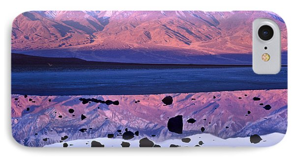 Panamint Range Reflected In Standing IPhone Case by Tim Fitzharris