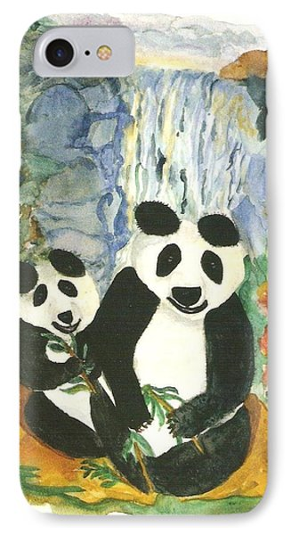 Panda Bears At The Waterfalls Phone Case by Thelma Harcum
