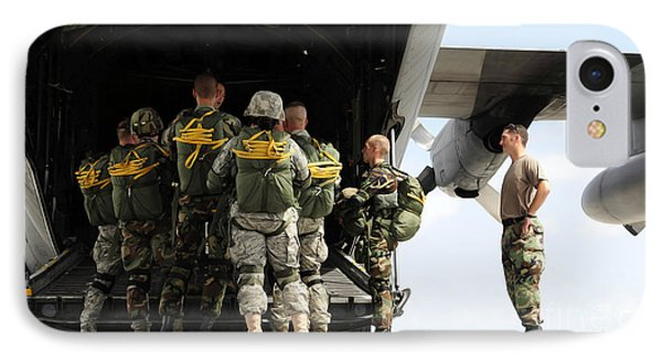 Paratroopers Gather Around The Back Phone Case by Stocktrek Images