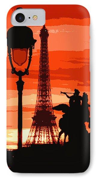Paris Tour Eiffel Red Phone Case by Yuriy  Shevchuk